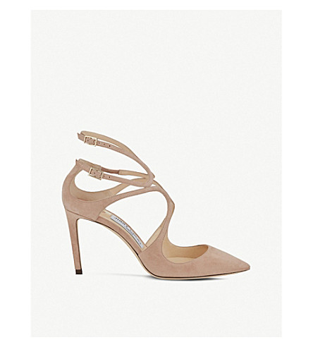 JIMMY CHOO Lancer 85 suede pointed courts (Ballet+pink