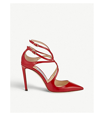 JIMMY CHOO Lancer 100 patent leather pointed courts (Red
