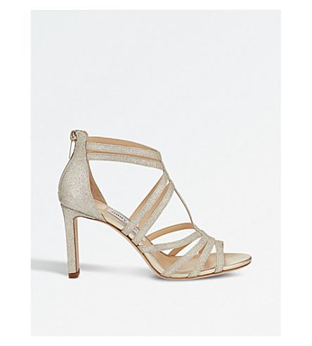 JIMMY CHOO Selina 85 glitter heeled sandals (Platinum+ice