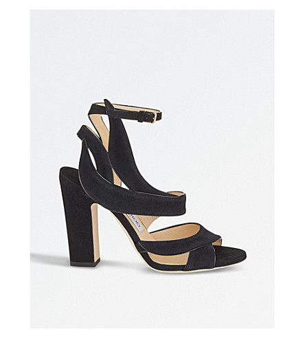 JIMMY CHOO Falcon 100 suede heeled sandals (Black