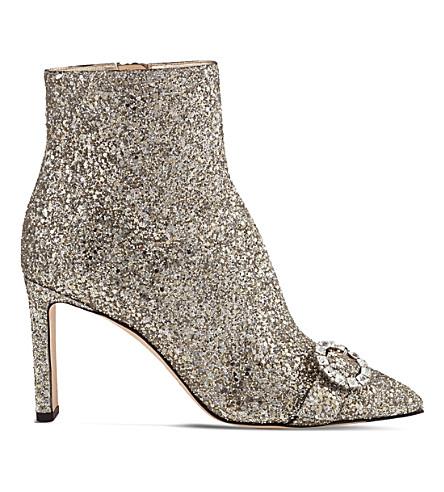 JIMMY CHOO Hanover 65 coarse glitter boots (Chai/crystal