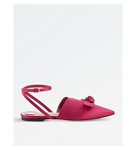 JIMMY CHOO Temple satin and nappa leather pointed toe flats (Cerise/cerise