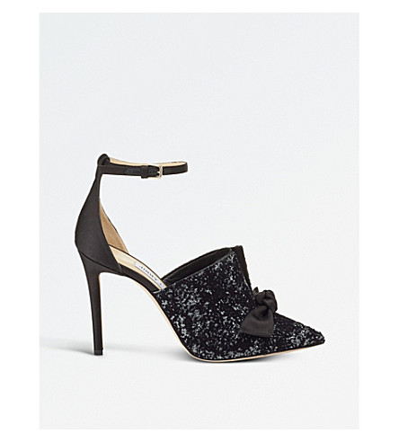 JIMMY CHOO Temple 100 glitter devoré and satin pointed courts (Anthracite/black
