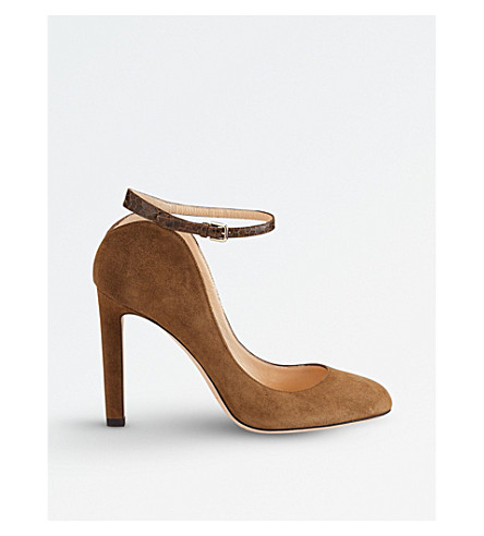 JIMMY CHOO Terry 100 suede heeled courts (Olive/olive