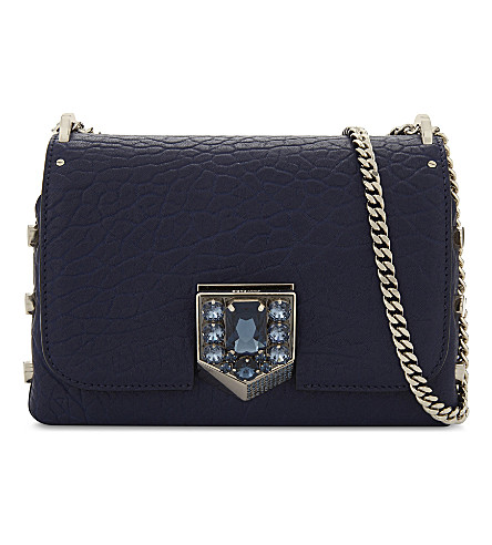 JIMMY CHOO Lockett Petite leather cross-body bag (Steel+blue