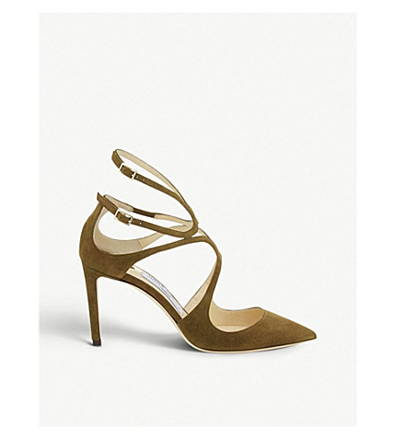 JIMMY CHOO Lancer 85 suede pointed courts (Olive