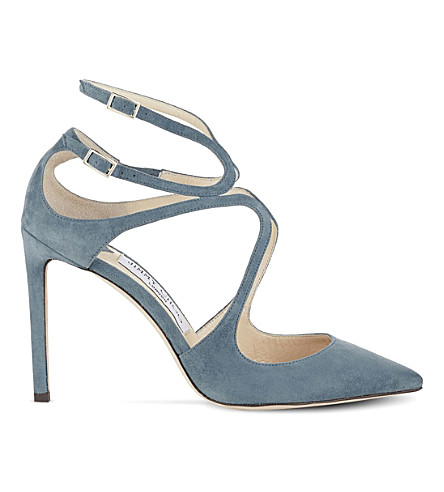 JIMMY CHOO Lancer 100 suede pointed courts (Dusk+blue