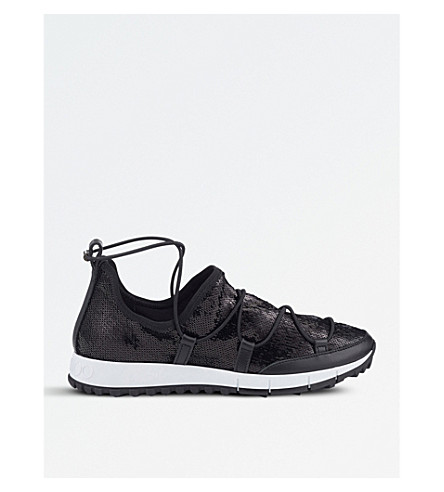 JIMMY CHOO Andrea sequinned trainers (Black