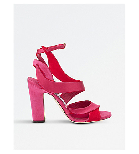 JIMMY CHOO Falcon 100 suede and satin heeled sandals (Cerise+mix