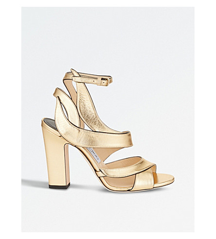 JIMMY CHOO Falcon 100 metallic leather heeled sandals (Gold