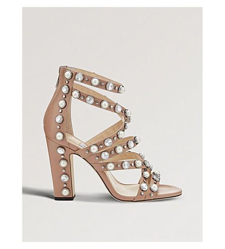 JIMMY CHOO Moore 100 embellished leather heeled sandals (Ballet+pink
