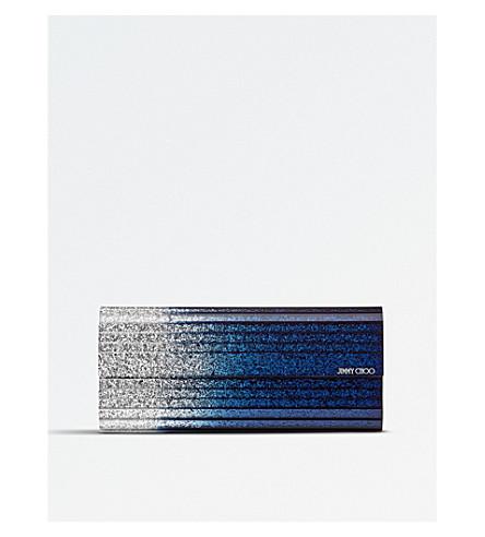 JIMMY CHOO Sweetie glitter acrylic clutch (Silver/navy