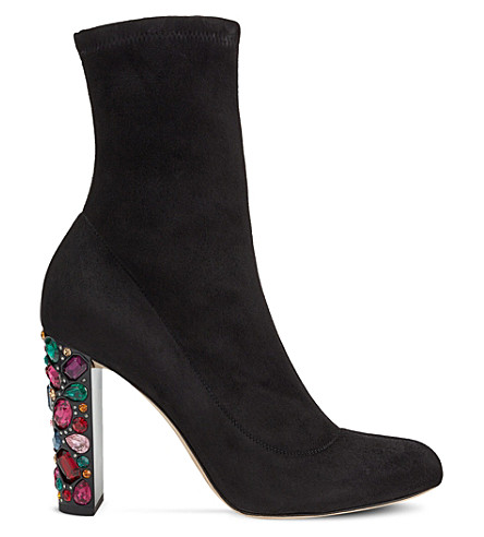 JIMMY CHOO Maine 100 embellished-heel stretch-suede boots (Black