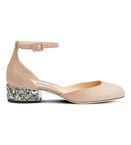 JIMMY CHOO Marnie 35 suede and embellished mary janes (Ballet+pink