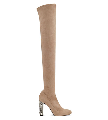 JIMMY CHOO Mya 100 embellished-heel stretch-suede over-the-knee boots (Ballet+pink