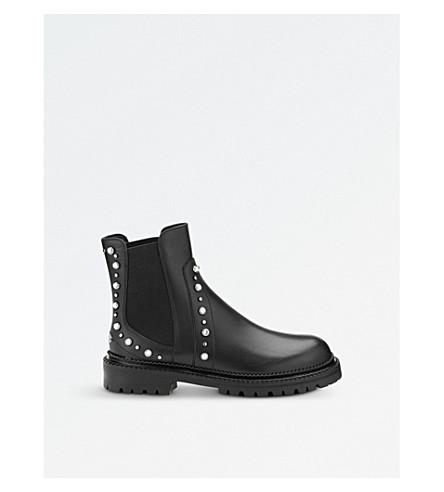 JIMMY CHOO Burrow flat leather biker boots (Black+mix