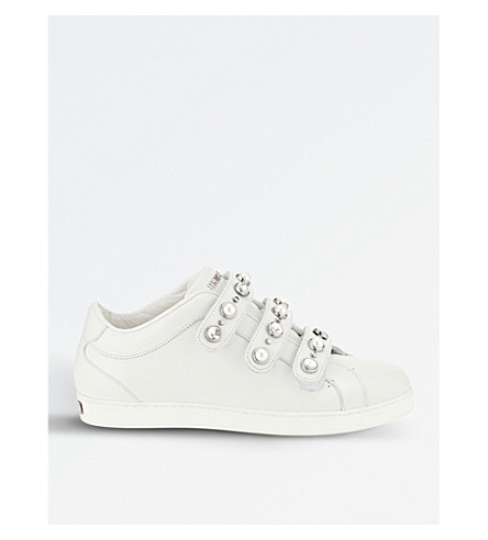 JIMMY CHOO NY leather trainers (White+mix