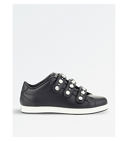 JIMMY CHOO NY leather trainers (Black+mix