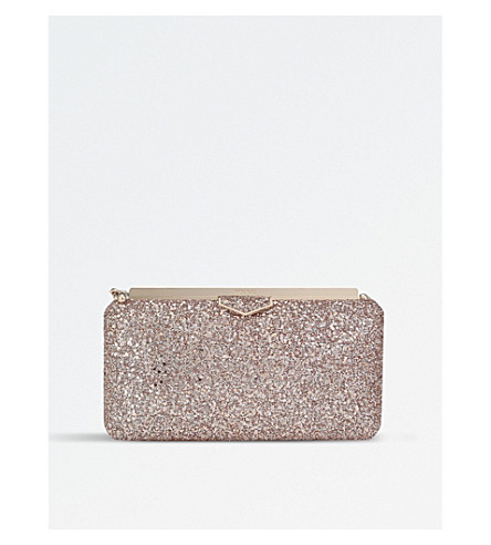JIMMY CHOO Ellipse coarse glitter clutch (Ballet+pink