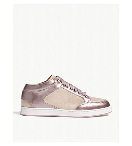 JIMMY CHOO Miami patent leather and suede trainers (Ballet+pink
