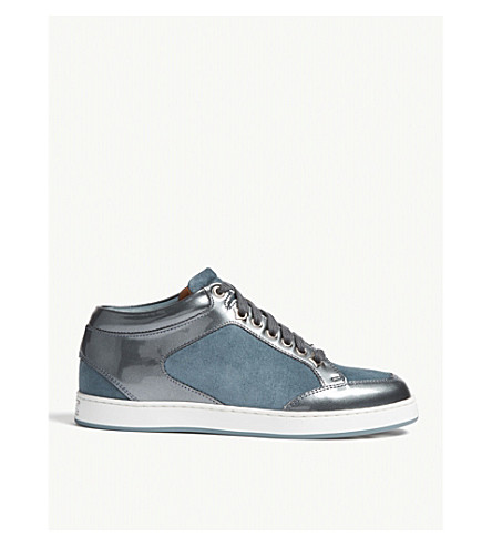JIMMY CHOO Miami patent leather and suede trainers (Dusk+blue