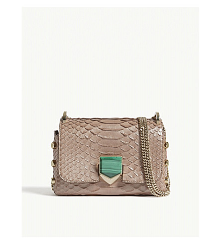JIMMY CHOO Lockett Petite python-embossed shoulder bag (Ballet+pink/eme
