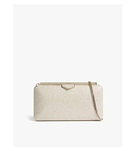JIMMY CHOO Ellipse dusty glitter clutch (Platinum+ice