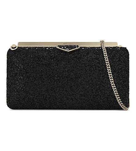 JIMMY CHOO Ellipse coarse glitter clutch (Black