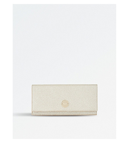 JIMMY CHOO Fie dusty glitter clutch (Platinum+ice