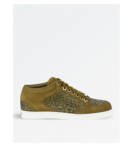 JIMMY CHOO Miami coarse glitter and suede trainers (Olive/olive