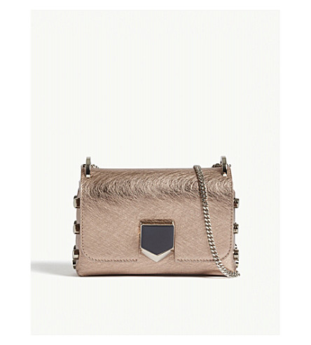 JIMMY CHOO Lockett mini metallic leather shoulder bag (Rose+gold