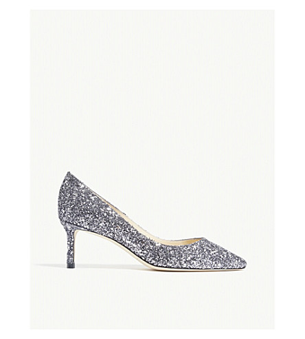 JIMMY CHOO Romy 60 coarse glitter courts (Gunmetal+mix