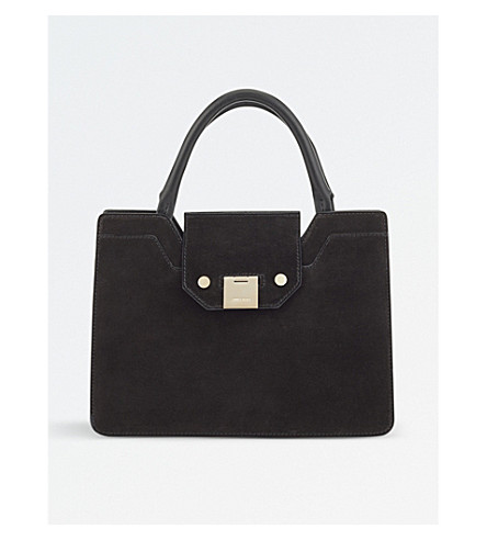 JIMMY CHOO Rebel small suede tote bag (Black