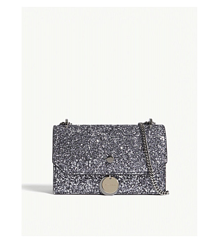 JIMMY CHOO Finley coarse glitter cross-body bag (Gunmetal+mix