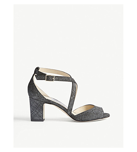 JIMMY CHOO Carrie 65 canvas and leather heeled sandals (Black