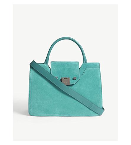 JIMMY CHOO Rebel small suede tote bag (Emerald