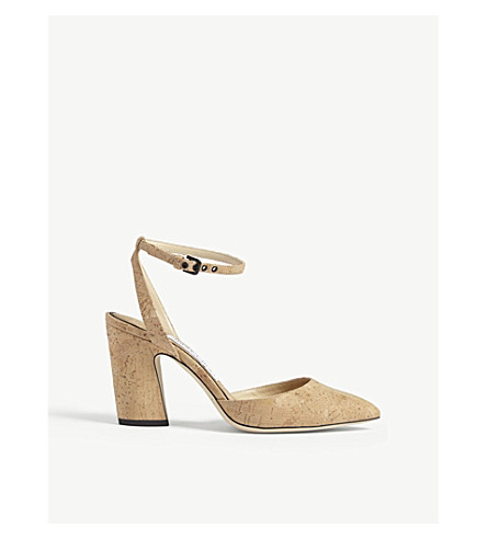 JIMMY CHOO Micky 85 cork sandals (Nude