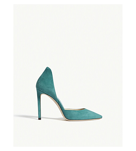 JIMMY CHOO Liz 100 suede courts (Emerald