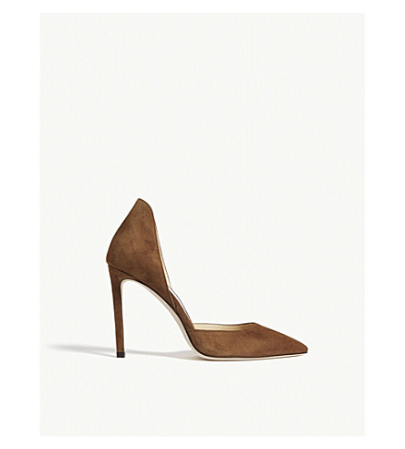JIMMY CHOO Liz 100 suede courts (Cacao