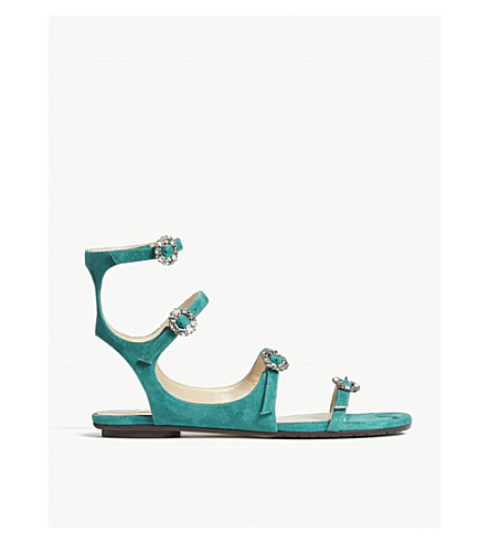 JIMMY CHOO Naia suede sandals (Emerald/crystal