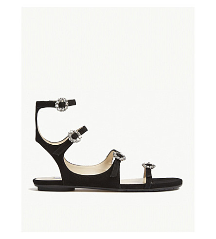JIMMY CHOO Naia suede sandals (Black/crystal