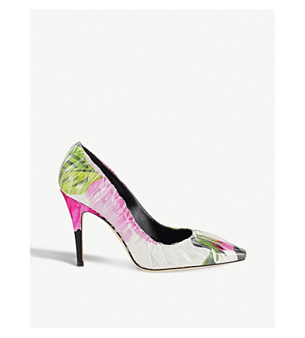 JIMMY CHOO C/O Off-White Anne 100 floral-print satin and TPU pumps (Floral+mix/tran