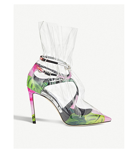 JIMMY CHOO C/O Off-White Claire 100 floral-print satin and TPU pumps (Floral+mix/tran
