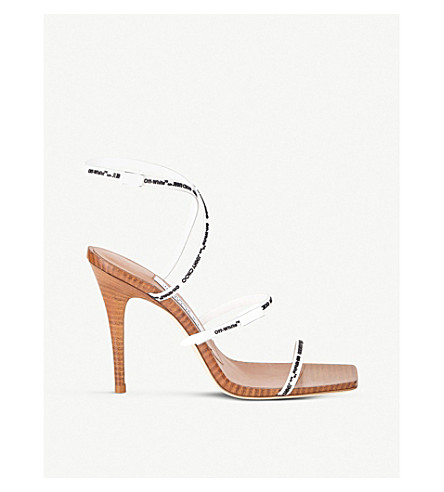 JIMMY CHOO C/O Off-White Jane 100 rubber and leather heeled sandals (White+&+black/c