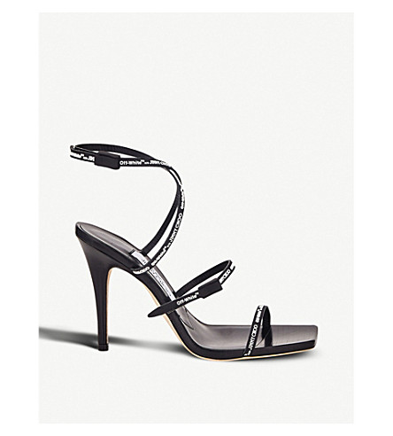 JIMMY CHOO C/O Off-White Jane 100 rubber and leather heeled sandals (Black/white
