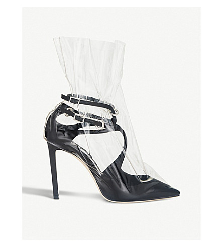 JIMMY CHOO C/O Off-White Claire 100 satin and TPU pumps (Black/transpare