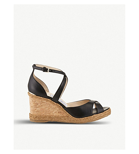 JIMMY CHOO Alanah 80 leather wedge sandals (Black