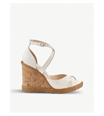 JIMMY CHOO Alanah 105 leather wedge sandals (Chalk