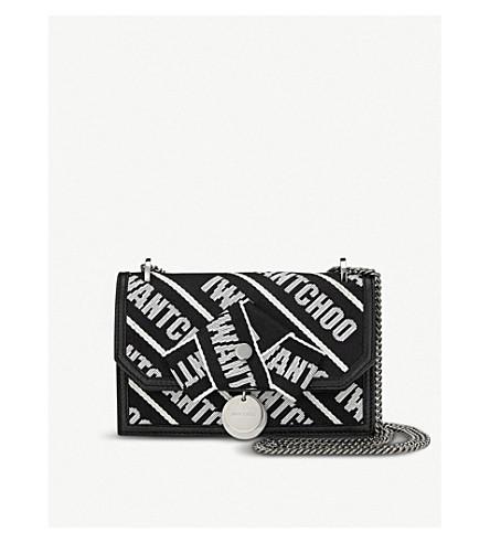 JIMMY CHOO Finley logo-tape canvas shoulder bag (Black/chalk