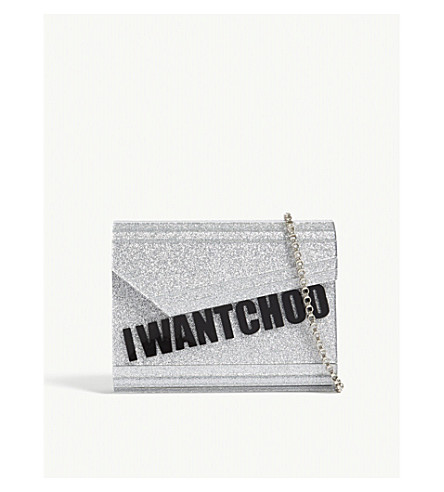 JIMMY CHOO Candy I Want Choo acrylic glitter clutch (Silver